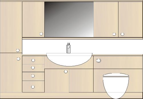 mirror unit for fitted bathroom furniture