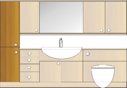 tall cupboard unit for fitted bathroom furniture